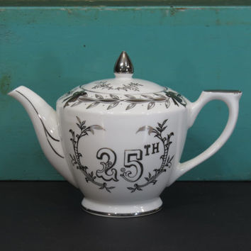 Lefton China 25th Anniversary Teapot Hand Painted Silver Design Vintage Gift
