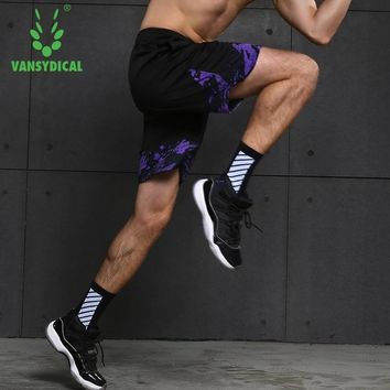 Vansydical 2018 Summer Running Sports Shorts Men's Loose Printed Quick Dry Fitness Sportswear Workout Jogging Basketball Shorts