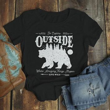 Women's Hipster Bear T Shirt Go Explore TShirt Camping Shirts Vintage Live Wild Graphic Tee