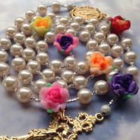 Pearl Roses Catholic Rosary Handmade 14K Gold Plate
