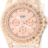 XOXO Women's XO8044 Rhinestone Accent White Silicone Strap Watch