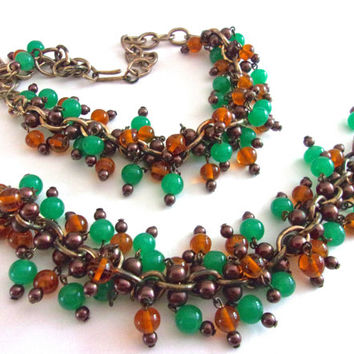 Glass Bead Cluster Necklace Bracelet Set, Green & Rootbeer, Cha Cha, Antique Gold Tone, Vintage