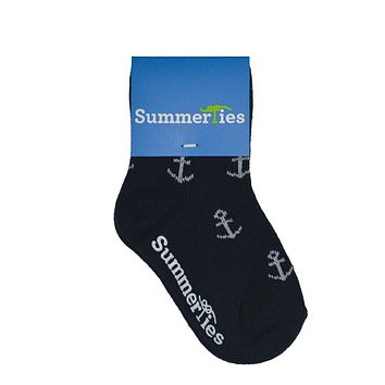 Anchor Socks - Toddler Crew Sock - White on Navy