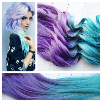 "18"", Ombre Hair, Tie dye Hair, Dipped Human Hair Extensions, Blonde Extensions, Pastel,Clip in Hair Extensions, Purple Teal Hair"
