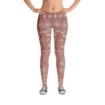 Elephant Mandala in Copper Leggings