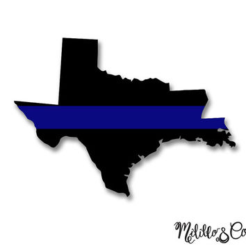 Thin Blue Line Police Texas  and Louisiana Car Decal Sticker