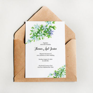 Printable Wedding Invitation | Watercolor Floral Invitation Card Template | Editable Ms Word & Photoshop Template | Instant download | I-093