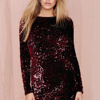 Wine Red Long Sleeve Sequined Backless Dress - Sheinside.com