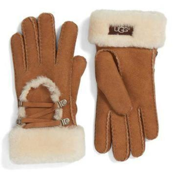 CREY1O UGG? Lace Up Genuine Shearling Gloves | Nordstrom