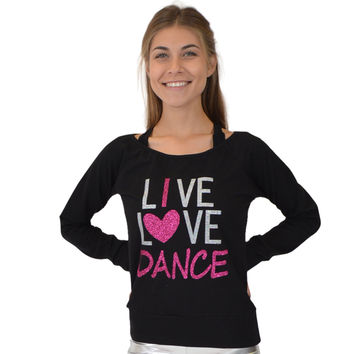Women's Sequin Lace Long Sleeve Top With Live Love Dance Glitter Vinyl