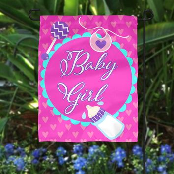 Custom Flag - Birth Announcement Flag - Garden Flag - New Parents - Outdoor Flag - It's a Girl Flag - Birth Announcement Gift - New Baby