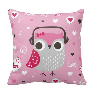 Pink,cute,owl,funny,girly,pattern,trendy,template, Throw Pillows