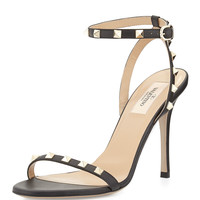 Valentino Rockstud Leather Ankle-Wrap Sandal, Black