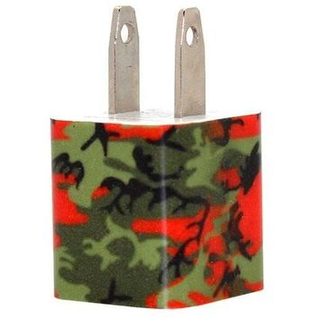 Orange Camo Phone Charger