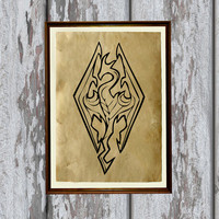 Skyrim print Dragon poster Fantasy illustration 8.3 x 11.7 inches