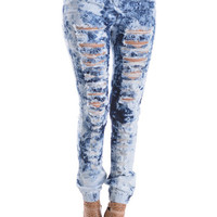 Distressed Acid Wash Print Jean Joggers