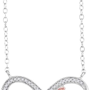 10kt White Gold Womens Round Diamond Infinity Hope Rose-tone Pendant Necklace 1/10 Cttw
