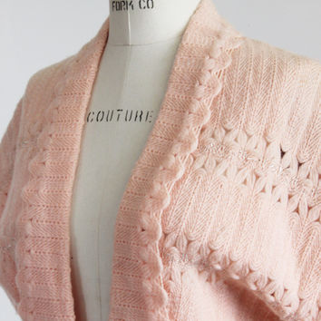 Vintage 1940s Pink Knit Bed Jacket Or Sweater