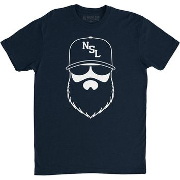 NSL Beard League Men's T-Shirt Navy/White