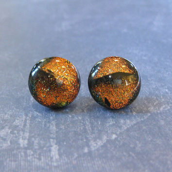Dichroic Orange Earrings, Halloween, Hypoallergenic Stud Earrings, Fashion Jewelry - Tracy - 2125 -3