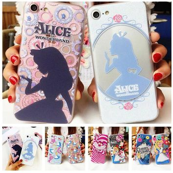 Cartoon Alice Phone Cases for iPhone 7 7 Plus 6S 6 Alice in Wonderland High Quality Embossed Reliefs Princess Cover Coque Fundas