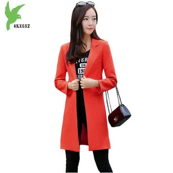 Spring Autumn Women Suit Jacket New Fashion Solid Color Casual Tops Slim Large Size Temperament Lady Suit Outerwear OKXGNZ A712