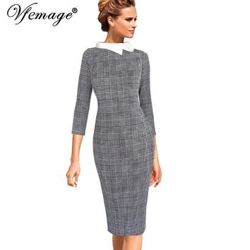 Vfemage Womens Celebrity Colorblock Contrast Collar Wear to Work Business Casual Party Stretch Bodycon Pencil Sheath Dress 10096
