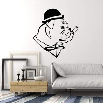 Vinyl Wall Decal English Bulldog Dog In Hat Gentleman Cigar Stickers (2540ig)