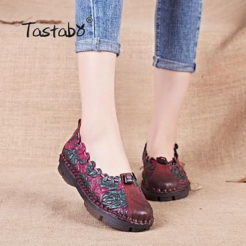 Tastabo Summer Floral Pleated Shoes Female Genuine Leather Flats Fashion Women Shoes Slip-on Nurse Peas Loafer Flats