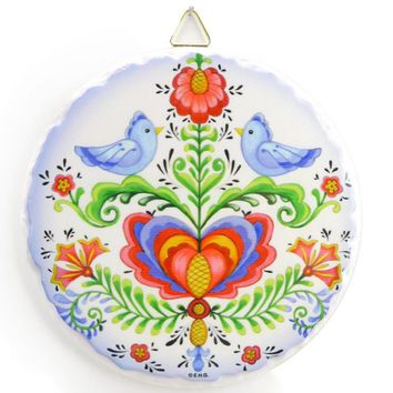 Decor Ceramic Wall Plaque: Lovebirds