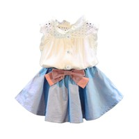 2017 Summer Girls Clothing Sets Fashion Cotton Sleeveless Hollow Tops and Skirt with Bowknot girls clothes Toddler tracksuit
