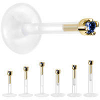 Solid 14KT Yellow Gold September 1.5mm CZ Bioplast Push in Labret Monroe | Body Candy Body Jewelry