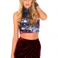 Missguided - Faiga Galaxy Crop Top In Purple