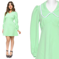 Babydoll Dress Mint Green 60s Mini Puff Sleeve 1960s Mod Pastel Peter Pan Collar Dolly / Size L Large