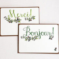 Hello and Thank You Notecard Set in green, pink, peach and brown -Set of 6 flat Notecards with Kraft Envelopes