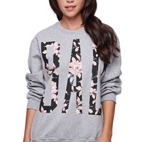 Reason Bad Floral Crew Fleece - Womens Hoodie - Gray