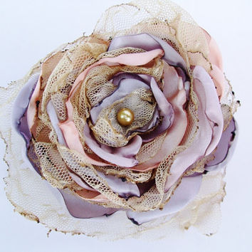 Tea stained tulle with shades of lavender and pink satin flower, Wedding, Hair Clip, Pin Brooch, Prom, Easter, Pastel flower