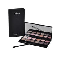 QiBest 12 Colors Pro Cosmetic Matte Shimmer Eye Shadow Make Up Set Nudes Naked Pallete Eyeshadow Brush Palette Brighten Makeup