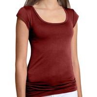 LE3NO Womens Basic Soft Short Sleeve T Shirt (CLEARANCE)