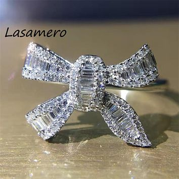 LASAMERO 0.34ct Certified Bow tie Natural Diamond Ring Accents 18k Gold Real Diamond Engagement Wedding Ring