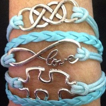 Double Infinity Friendship woven bracelet with puzzle piece