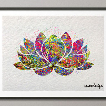 Lotus Flower Yoga Symbol watercolor wall art canvas painting