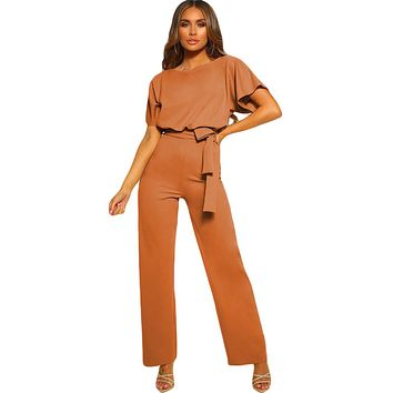 Elegant Brown Oh So Glam Belted Wide Leg Jumpsuit