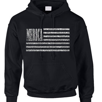 Adult Hoodie Merica Glitter Silver Flag 4th Of July USA