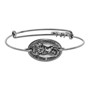 Alex and Ani Saint Michael Horizontal Charm Bangle - Russian Silver