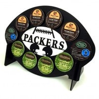 Green Bay Packers Football 10 K Cup Holder and Coffee Pod Display