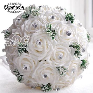 Kyunovia New in stock Gorgeous Handmade Wedding flowers White Bridesmaid Bridal Bouquets artificial Rose Wedding Bouquet FE01