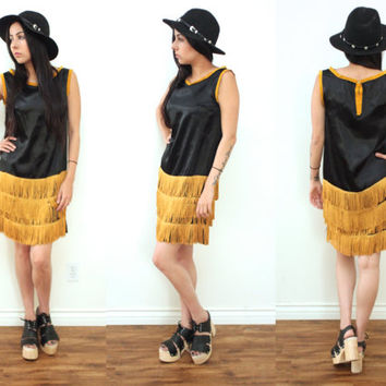 Vintage 70s FRINGE Silky Roaring 20s Shift Sleeveless Black Gold Midi Dress // Hippie Gypsy Flapper Boho // XS Extra Small / Small