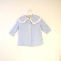 Vintage Baby Clothes, 1950's Handmade Sky Blue and White Baby Girl Coat Set, Spring Baby Coat, Vintage Baby Coat, Size 24 Months