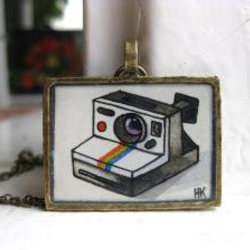 Hip Polaroid Camera Hand Painted Necklace by HeatherKent on Etsy